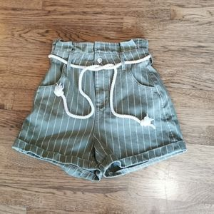 Topshop Paperbag Waist Striped Green Shorts 4